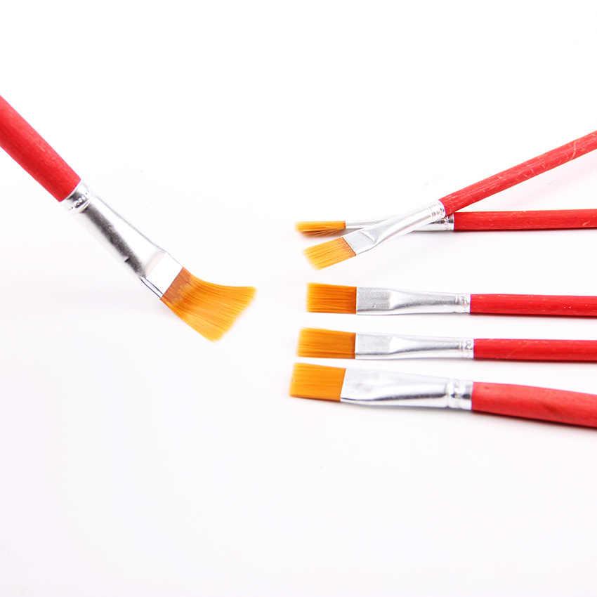 6 sztuk/zestaw dla dzieci Student akwarela gwasz malarstwo Pen nylonowe włosy czerwony uchwyt drewniany zestaw pędzel do rysowania artystycznego dostaw