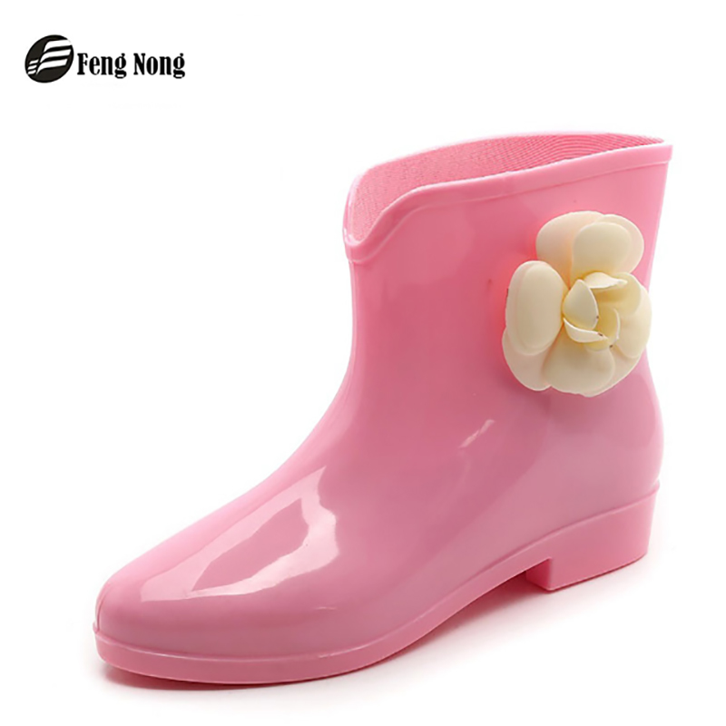 Fengnong new arrival rain boots waterproof flat with shoes woman rain woman water rubber ankle boots bowtie botas
