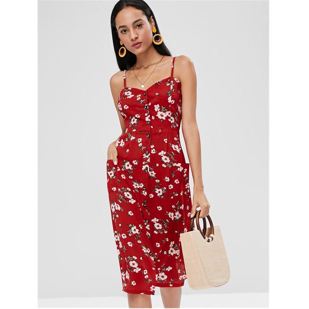 8b89b8ca0b8e 2018 Fashion Red Floral Print Button Up Cami Spaghetti Strap A Line Women  Dress Sexy Beach