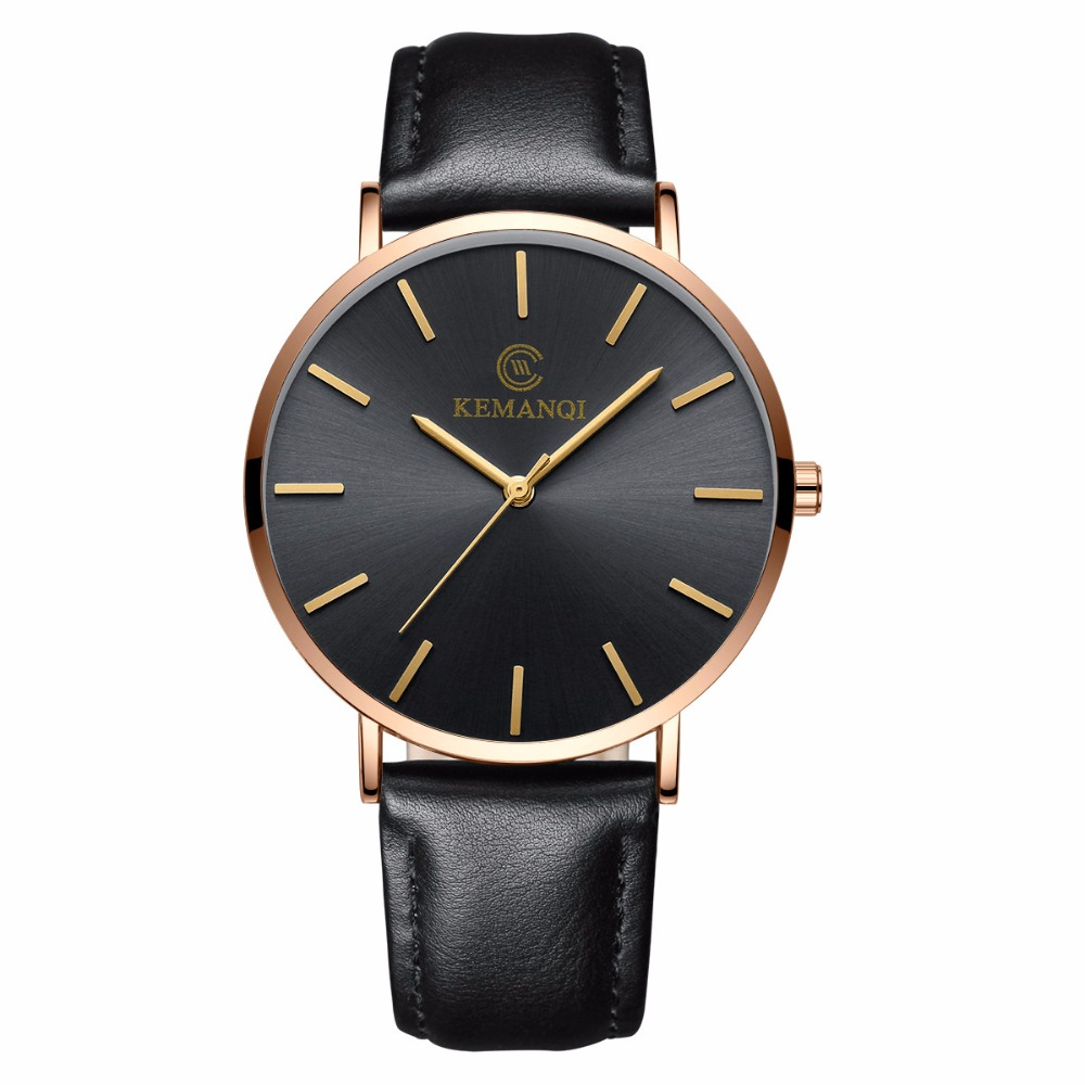 KEMANQI Brand Watch Men Couple Fashion Leather Band Analog Quartz Round Wrist Business men's watch relogio masculino men s military style fabric band analog quartz wrist watch black 1 x 377