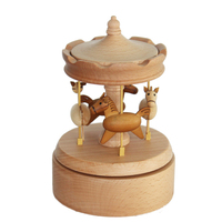 Wooden Carousel Music Box Ornaments Creative Rotating Horse Model Sky City Music Box Home Decoration Desk Crafts Birthday Gifts