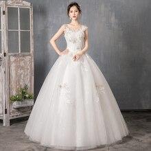 Stock Wedding Dresses Vestidos de novia o neck Sweep Train Lace Applique Corset bride Wedding Dress Gowns Robe De Mariage цена и фото