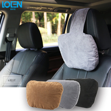 LOEN Super Soft Suede Cover Car Headrest Neck Support Pillow Seat Cushion For Benz Maybach BMW Audi Ford Toyota Kia Nissan Lada