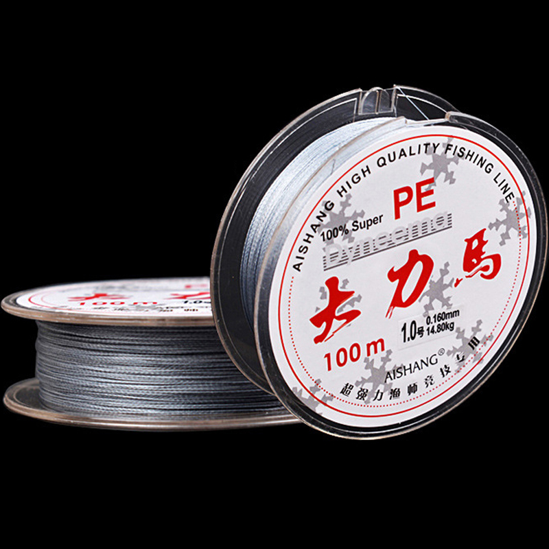 100m Extreme Strong 4 Strands PE Braided Fishing Line 8LB - 90LB Grey Multifilament Fishing Line For Lure Carp Match Sea Fishing