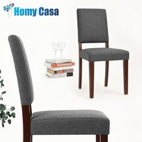 HOMY CASA 2PCS/SET Fabric grey dining chairs Fashion Household wooden Dining chair for dining room