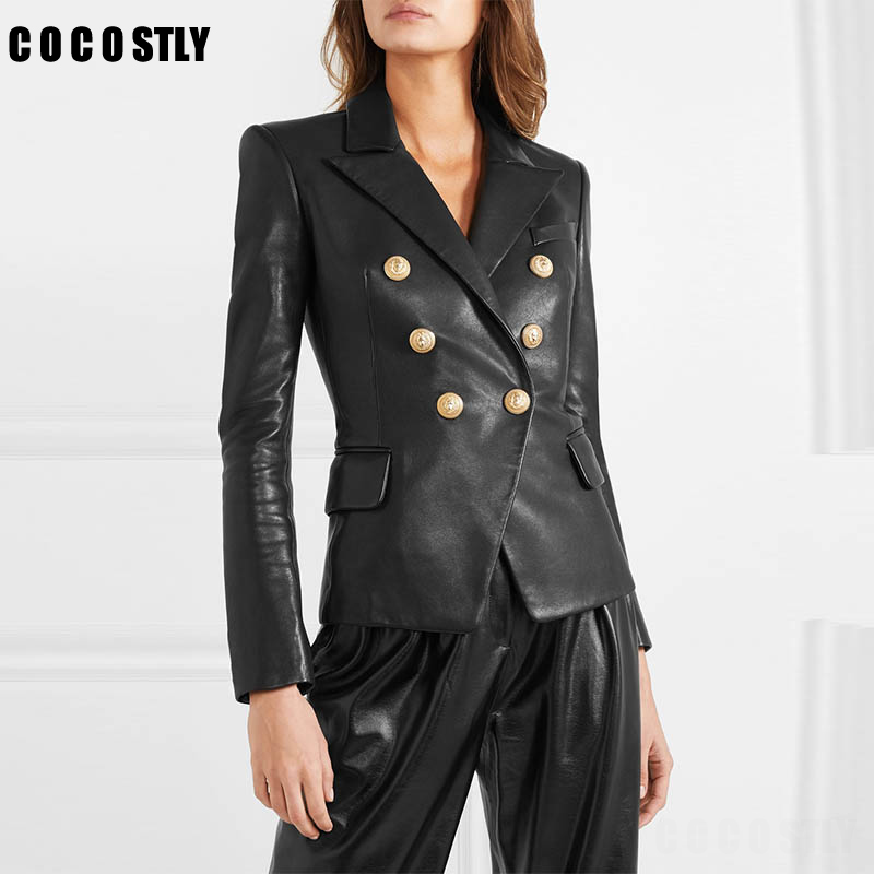 2019 Faux   Leather   Jackets Women's Coat Designer Lion Metal Buttons Double Breasted Synthetic Motorcycle   Leather   jacket Outerwear