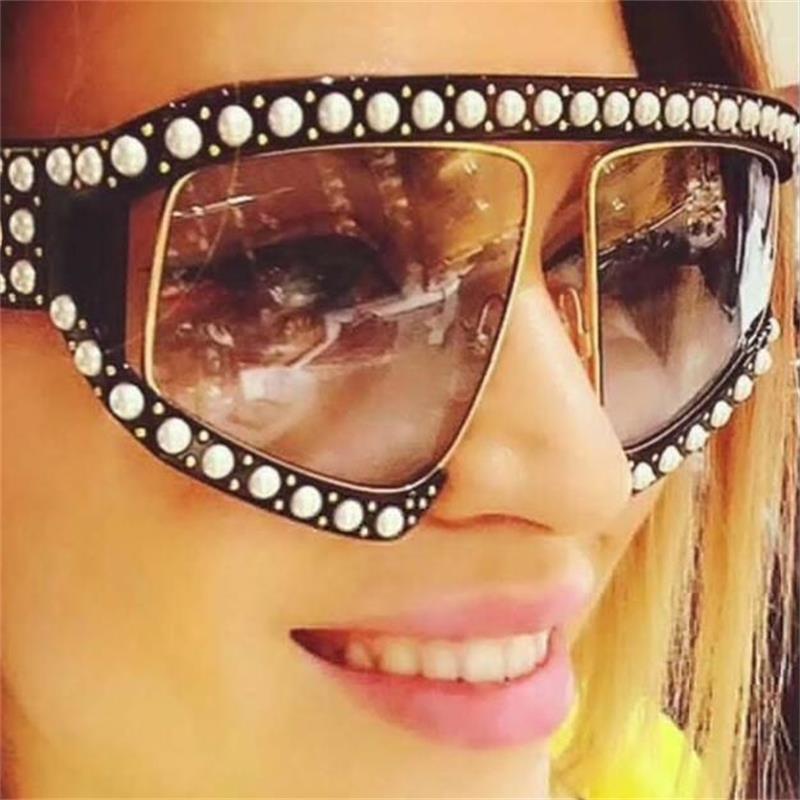Übergroßen Sonnenbrille Mode 2018 Luxus Italien Marke Klar Sonnenbrille Damen Große Rahmen Perle Shades Big oculos feminino UV400