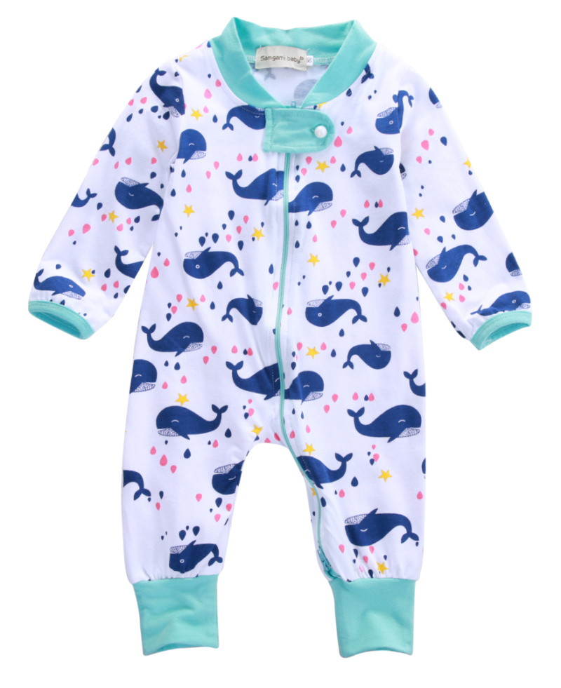 Kids Baby Rompers Whale Animals Cute Baby Boys Zipper Long Sleeve One-piece Romper Newborn Infant Jumpsuit Spring Autumn newborn baby rompers baby clothing 100% cotton infant jumpsuit ropa bebe long sleeve girl boys rompers costumes baby romper