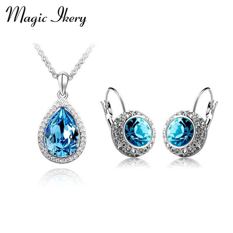 Magic Ikery Gold Color Crystal design Round Moon river Crystal Jewelry Sets Wholesales Fashion Jewelry for women MKZ1009