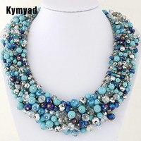 Kymyad Choker Necklace Handmade Crystal Beads Necklaces Pendants Bijoux Femme Statement Necklaces Lady Dress Accessory