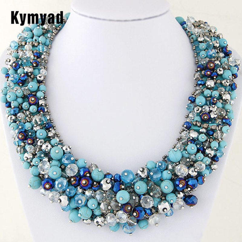 Kymyad Choker Necklace Handmade Crystal Beads Necklaces & Pendants Bijoux Femme Statement Necklaces Lady Dress Accessory xiacaier vintage chokers necklaces women simulated pearl gold color choker necklace bijoux femme statement necklace wedding gift