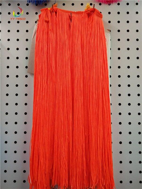 100CM Long Orange Polyester Lace Tassel Fringe Lace Trim Ribbon Sew Latin Dress Stage Garment Curtain