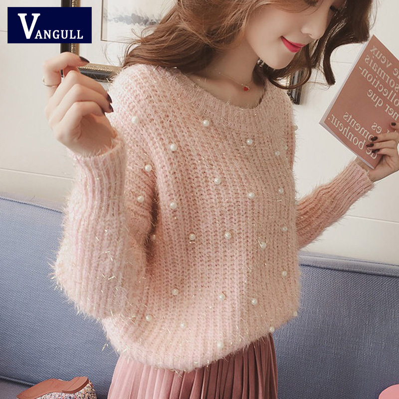 Vangull Pearl Beading O Neck Sweater Sweet Women Pullovers Knit Jumper Long Sleeve Casual Solid Sweater Pull Femme Autumn 2019