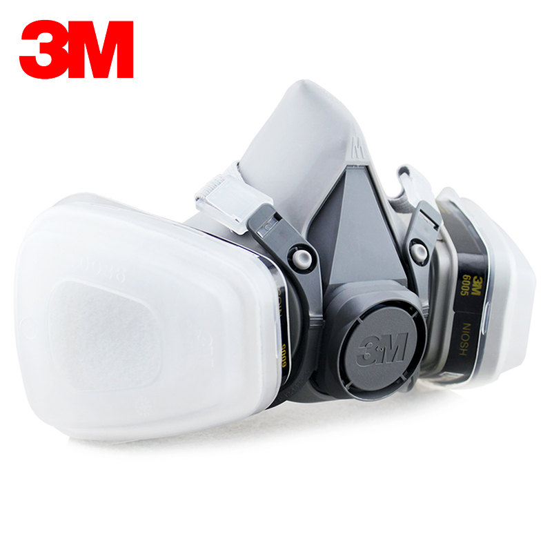 3M 6200+6005 Reusable Half Face Mask Respirator 3M Formaldehyde/Organic Vapor Cartridge 7 Items for 1 Set LT004 3m 7501 6005 half facepiece reusable respirator mask formaldehyde organic vapor cartridge 7 items for 1 set xk001