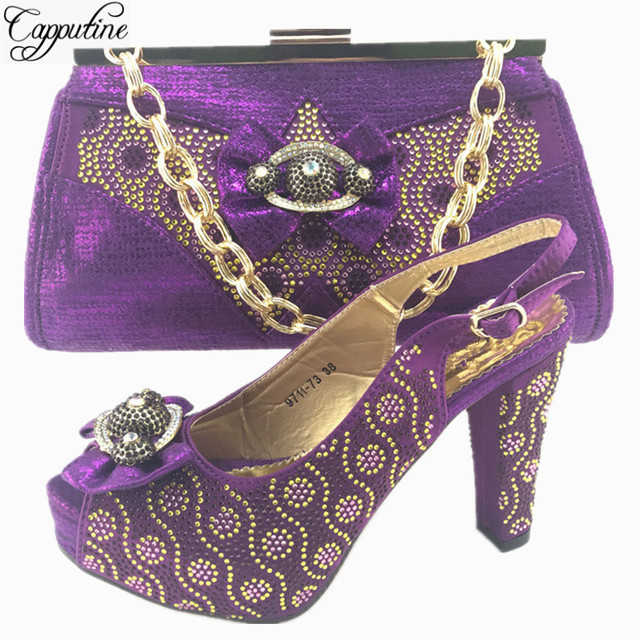 Capputine Nice African Flower Rhinestone Shoes And Bag Set For Party New Design  Italian Shoes And 37551c8b9df1