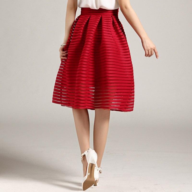 5e2244cf US $6.85 46% OFF MWSFH Lato Nowy Styl Sexy Moda Spódnica kobiety Striped  Hollow out Puszyste Spódnica Spódnice Huśtawka Panie Black Red Ball ...