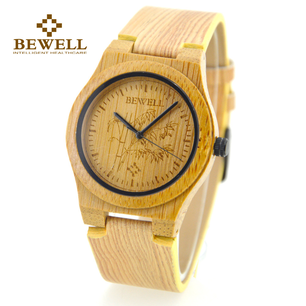 BEWELL Top Luxury Brand Bamboo Wood Watch For Women Analog Quartz Movement Female Ladies Wristwatches Relogio Masculino 105E elanrom summer men formal derby wedding dress shoes cow genuine leather lace up round toe latex height increasing 30mm massage