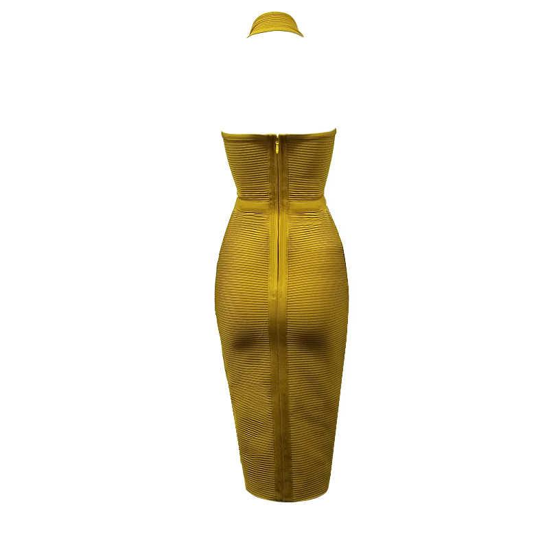Новый летний Для женщин вечерние Бандажное платье сексуальное Клубное платье по колено облегающее платье 2019 с лямкой на шее вечернее, для вечеринок, праздничное Элегантное платье без рукавов