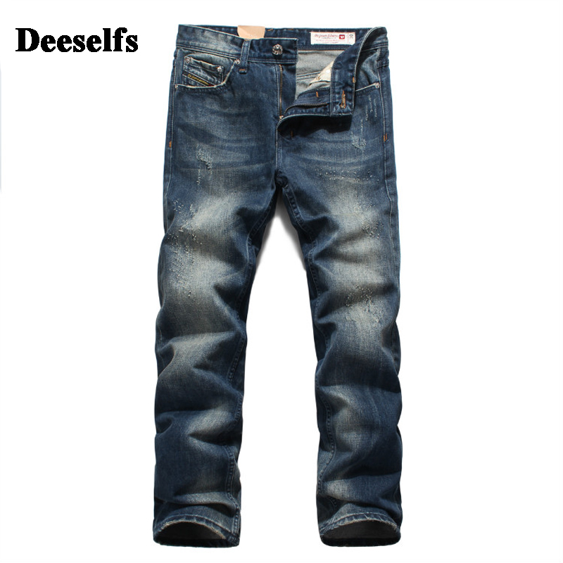 High Grade Distressed Dark Jeans Men Deeselfs Brand Clothing Mid Stripe Regular Fit Punk Men`s Moto Jeans Uomo 28-38 S300 classic mid stripe men s buttons jeans ripped slim fit denim pants male high quality vintage brand clothing moto jeans men rl617