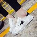 2017 Nuevo Otoño Del Verano Del Color Sólido zapatos de Lona Bajos de Blanco Mujeres de la Marca Casual Zapatos Planos de Encaje Hasta Zapatos de Moda Transpirable