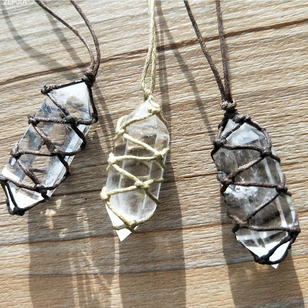 Branco Pingente de Cristal Natural Fluorita Cristal de Quartzo Stone Point Cura Varinha Hexagonal Pedra Tratamento Com Mão-Corda tecida