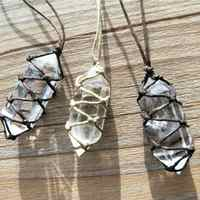 White Natural Crystal Pendant Fluorite Quartz Crystal Stone Point Healing Hexagonal Wand Treatment Stone With Hand-woven Rope