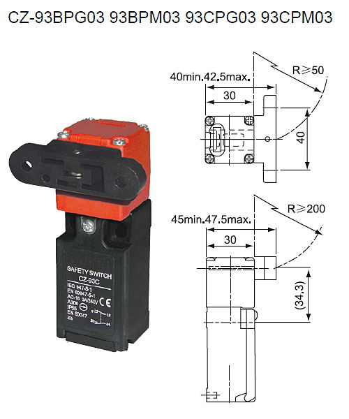 10PCS Safety door switch Limit switch Micro switch,Key Switch CZ-93C 1NO1NC with Key 10pcs v 155 1c25 momentary limit micro switch spdt snap action switch