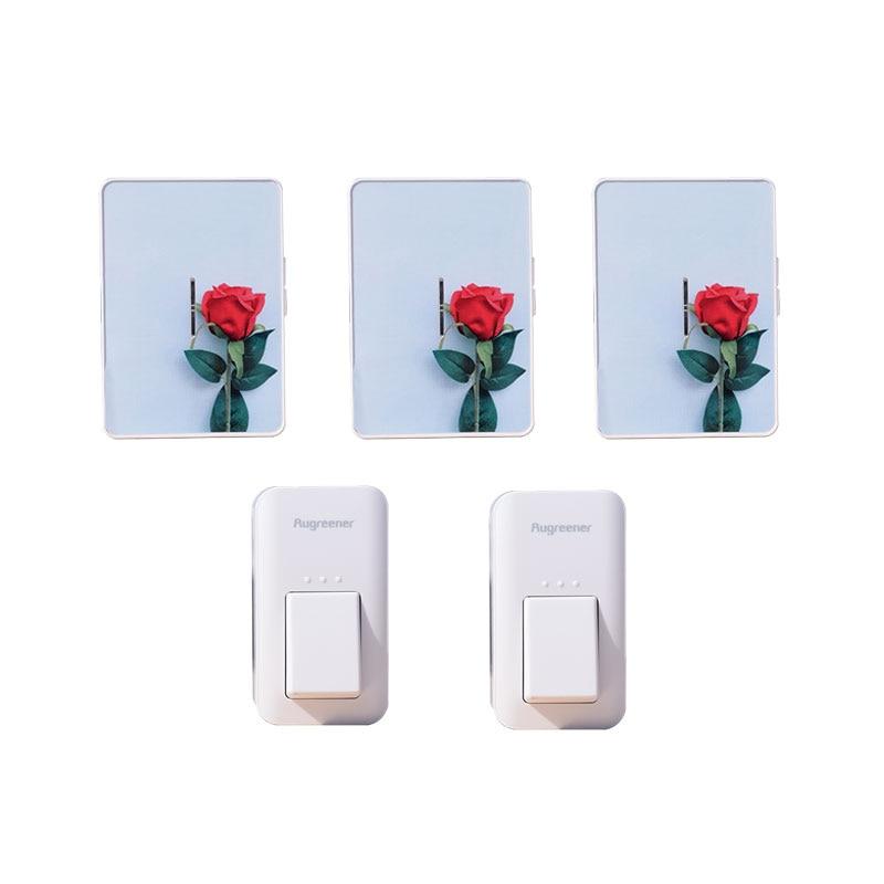 Augreener 2 Buttons 3 Receivers Wireless Doorbell Button Waterproof No Battery Door Bell 100M Long Range