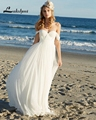 Hot Sale Off Shoulder Chiffon Wedding Dresses Bohemian Bridal Gown Boho Honeymoon Dress Beach