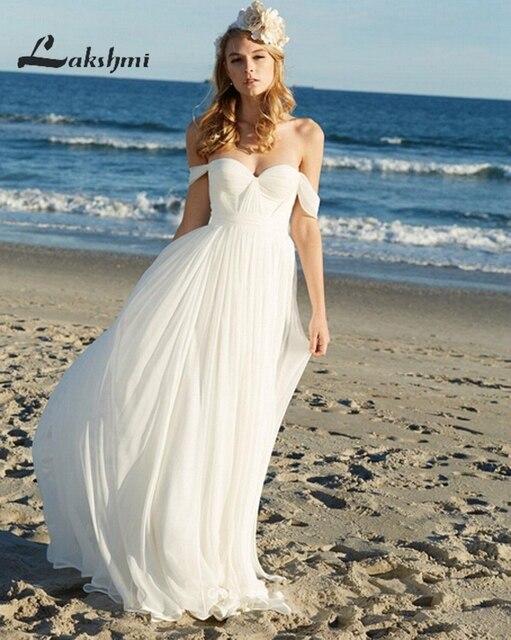 Hot Sale Off Shoulder Chiffon Wedding Dresses Bohemian Bridal Gown ...
