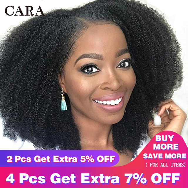 Glueless Brazilian Lace Front Wig 4B 4C Afro Kinky Curly Human Hair Wigs  For Women Pre Plucked 130% Natural Black Remy Wig CARA 03ac29ca6
