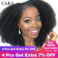 Glueless Brazilian Lace Front Wig 4B 4C Afro Kinky Curly Human Hair Wigs For Women Pre Plucked 130% Natural Black Remy Wig CARA