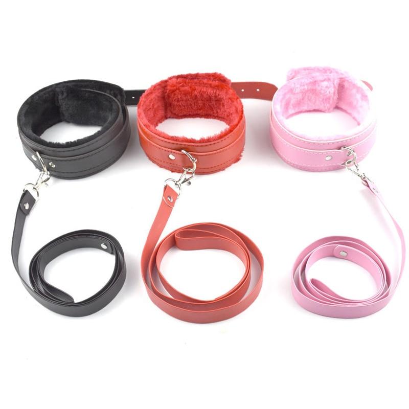 Chastity Lock 3 color PU Leather bdsm collar Plush Neck Sex Collar Fetish Bondage Adult Games Slave Restraint Virgin lock