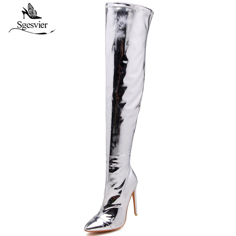 Sgesvier Sex Long Boots Extreme High Heel 12cm Over The knee Boots Patent Leather thigh high boots pole dancing Boots OX630