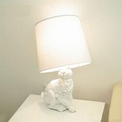 Biały królik lampy stołowe nowoczesny kreatywny czarny biały klosz z tkaniny dzieci lampa stołowa salon nocne biurko dekoracyjna z lampkami w Lampy stołowe LED od Lampy i oświetlenie na