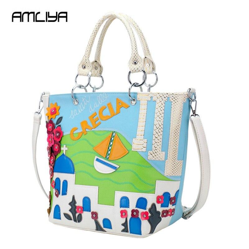 Hot Beautiful Patchwork  Women Handbags Aegean Sea theme Lady Shoulder Bags genuine Fashion Casual Totes girls Top Hand Bag geparlys beautiful lady