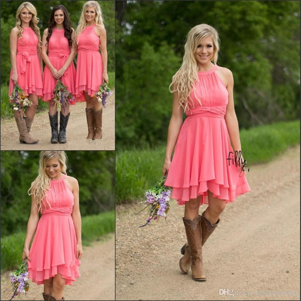 Short   Bridesmaid     Dresses   2019 Country Style Chiffon Scoop Neck Sleeveless Wedding Guest Party Gown robe demoiselle d'honneur
