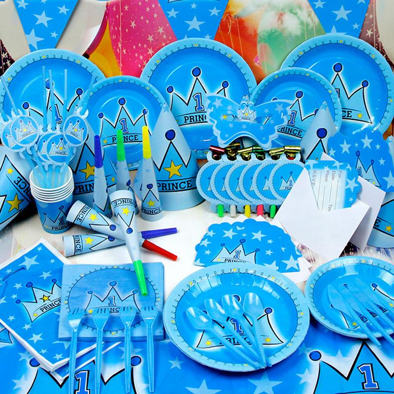 78pcs blue prince crown luxury kids birthday decoration for Baby shower decoration packs