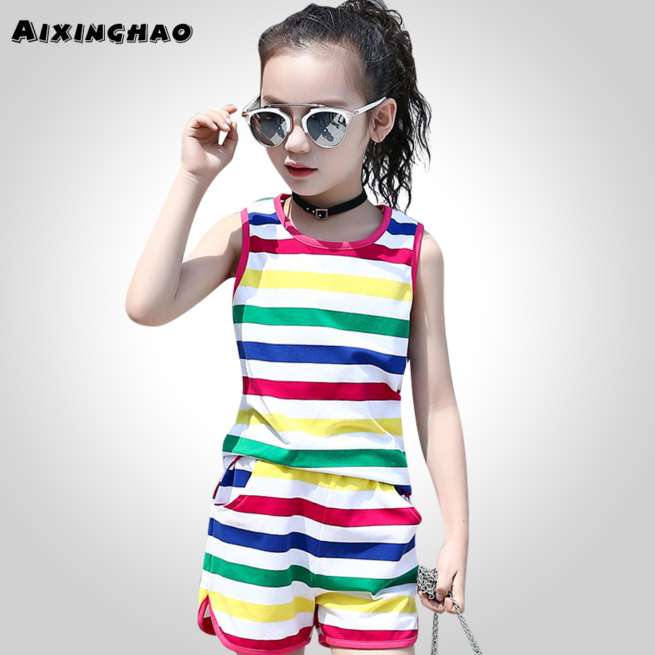 Aixinghao Girls Clothing Set Summer Kids Suits Teenage Girls Clothes Set Rainbow Big Kids Outfits 6 8 10 12 14 Year