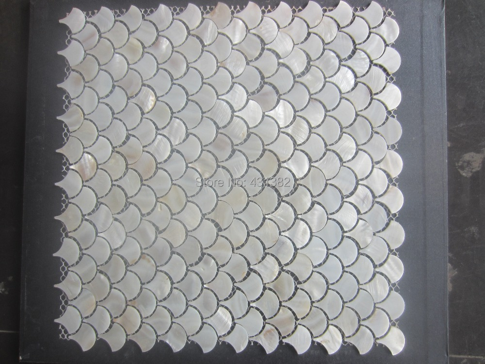 11pcs Mother Of Pearl Tile Fan Shaped Shell Mosaic For Wall Tiles White Bathroom Mosaico In Wallpapers From Home Improvement