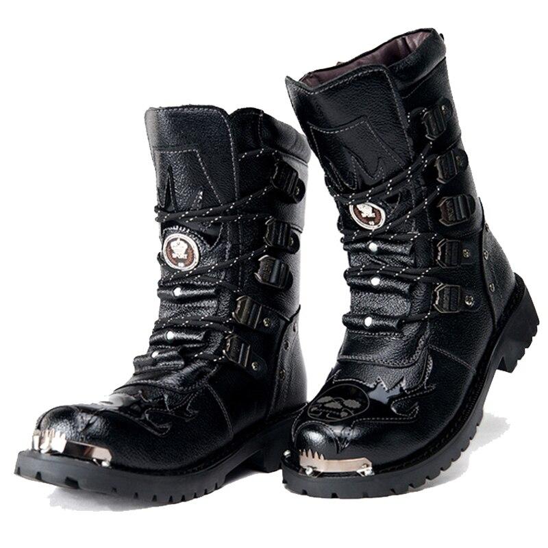Armée bottes hommes bottes militaires 2019 cuir hiver noir cowboy neige métal gothique Punk bottes hommes chaussures moto désert bottes