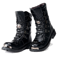 Army Boots Men Military Boots 2019 Leather Winter Black cowboy snow Metal Gothic Punk Boots Male Shoes Motorcycle Desert boots