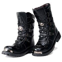 Botas do exército dos homens botas militares 2019 de couro inverno preto cowboy neve metal gótico punk botas masculinas sapatos da motocicleta botas deserto