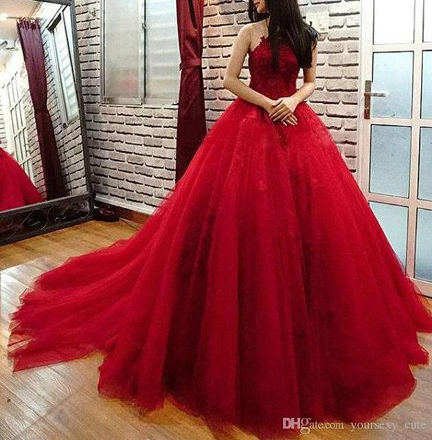 bb651edabb 2017 Red Ball Gown Quinceanera Dresses Appliques Tulle Backless Court Train  Prom Dresses Sweet 16 Dresses Robe De Soiree