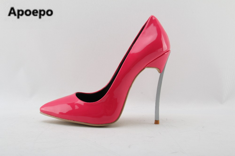 Newest brand zapatos de mujer de moda red Patent leather shoes metal heel high heels pump shoes women sexy pointed toe stiletto туфли на высоком каблуке 2015 toe zapatos de 35 40 41 42 high heels