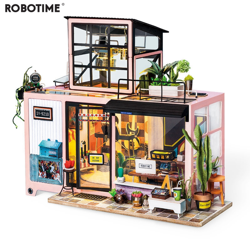 Robotime New DIY Kevins Studio with Furniture Children Adult Miniature Wooden Doll House Model Building Kits Dollhouse Toy DG13Robotime New DIY Kevins Studio with Furniture Children Adult Miniature Wooden Doll House Model Building Kits Dollhouse Toy DG13