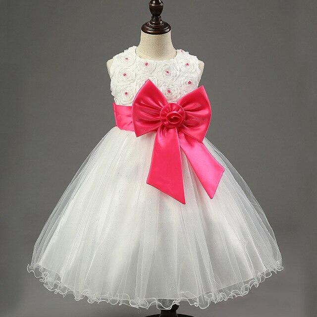 Высокое качество Кружева Платья Девушки Детей Платья Партии Лето Принцесса Девочка Свадебное Платье День Рождения Большой Розовый Бант Для 100-160