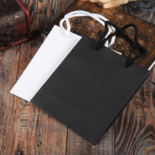 Hig Quality 5 Pcs/Lot Natural kraft paper bag with handle Wihte/Black Wedding Party Favor Paper Gift Bags Jewelry & Pouches