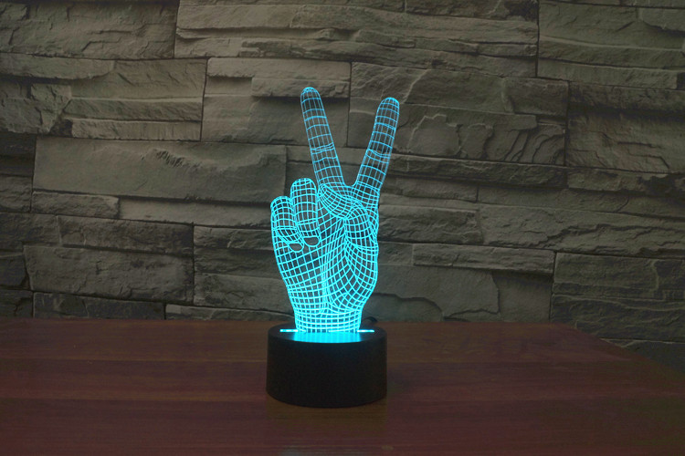 Creative 3D LED 7 color victory win changing visual illusion light bedroom light action figures PMMA table lamp gift