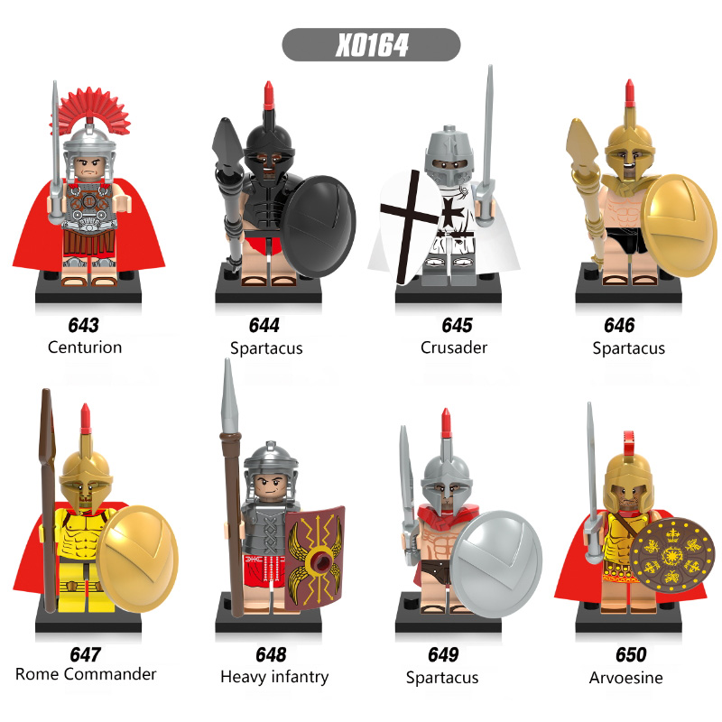Spartacus Crusader Rome Commander Soldier Heavy Infantry Arvoesine Building Blocks Figure Toys Kids Gift Compatible Legoed X0164
